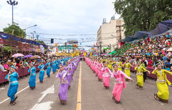 Thai dance at traditional candle procession festival of Buddha Stock Photos