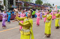 Thai dance at traditional candle procession festival of Buddha Royalty Free Stock Photo