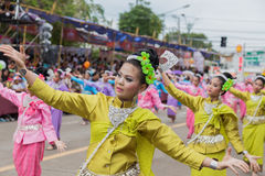 Thai dance at traditional candle procession festival of Buddha Royalty Free Stock Image