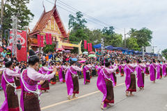 Thai dance at traditional candle procession festival of Buddha Stock Image