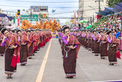 Thai dance at traditional candle procession festival of Buddha Royalty Free Stock Photography