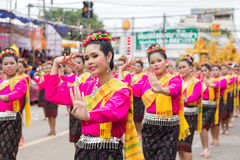 Thai dance at traditional candle procession festival of Buddha Royalty Free Stock Images