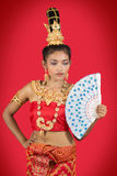 Thai dancer with fan Royalty Free Stock Photos