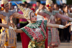 Thai dancers. Phayao, Thailand - march 05 2011: Thai dancer  perform Thai dance  during festival in honnor  to Phayao founder King Ngam Muang Stock Image