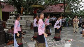 Thai dancers in Chiang Mai stock video