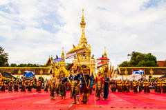 Thai dancers group in front of Phatat Pranom pagoda. Stock Images