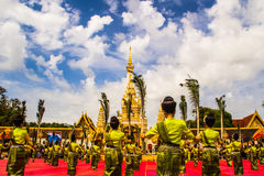 Thai dancers group in front of Phatat Pranom pagoda. Stock Photo