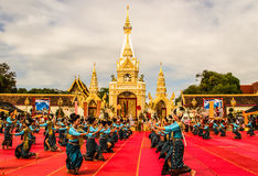 Thai dancers group in front of Phatat Pranom pagoda Stock Photography