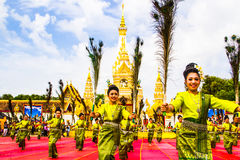 Free Thai Dancers Group In Front Of Phatat Pranom Pagoda Stock Images - 30760744