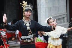 Thai dancers performing Wat Phrathat Doi Suthep Stock Photo