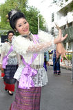 Thai Dancing. BANGKOK, THAILAND - OCTOBER 2: An unidentified woman performs a Thai traditional dance during a parade of people from the northern territory of stock photos