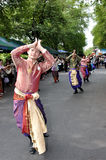 Thai Dancing. BANGKOK, THAILAND - OCTOBER 2: Unidentified men perform a Thai traditional dance during a parade of people from the northern territory of Thailand stock photos
