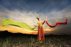 Thai dancing girl with northern style dress Royalty Free Stock Images