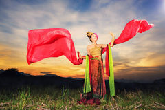 Thai dancing girl with northern style dress Stock Photography