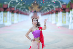 Thai dancing girl with northern style dress in temple Stock Photography
