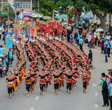 Thai dancing parade of candle festival procession Stock Photos