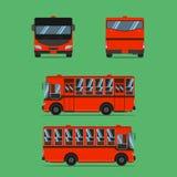 Thai dark orange bus transport car vehicle driver fare passenger autobus omnibus coach rail bench chair stool armchair seat. Thai dark orange bus transport car vector illustration