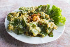 Deep fried ivy gourd salad with seafood Royalty Free Stock Photos