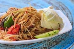 Thai Delicious Raw Papaya Salad Royalty Free Stock Photography