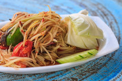 Thai delicious raw papaya salad. SOM-TAM, Thai delicious raw papaya salad with unique taste hot and spicy, this dish with tomato and crab royalty free stock photography