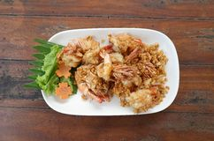 Thai delicious seafood. Fried shrimp on wood table Royalty Free Stock Image