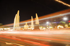 Thai democracy monument. With traffic motion Stock Photography