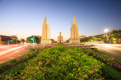 Thai democracy monument. With traffic motion Stock Photo