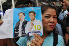 Thai Democrat Party Supporter Stock Image