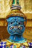 Thai demon. On golden pagoda at Wat Phra Kaeo Emerald Buddha temple Bangkok, Thailand royalty free stock photo