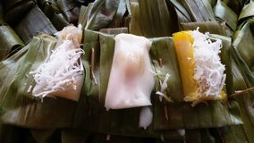 Thai desert. With banana leaf ; traditional Royalty Free Stock Photo