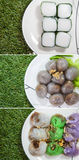 Thai  deserts. Many kind of Thai desserts ,beautiful and delicious Stock Photo