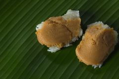 Thai dessert on banana leaf. Classy sweets royalty free stock images
