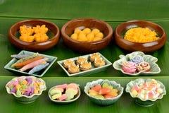 Thai dessert on banana leaf green background. Stock Photos