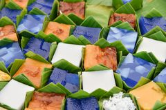 Thai dessert in banana leaf package stock photo