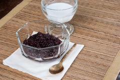 Thai dessert Black Sticky Rice with coconut milk Royalty Free Stock Photography
