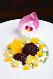 Thai dessert of black sticky rice and mango Royalty Free Stock Photo
