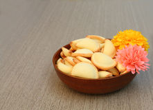 Thai dessert in bowl with artificial flower Stock Images