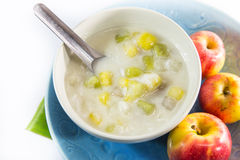Thai dessert - Bua loy in coconut milk on white background Royalty Free Stock Photo