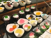Thai dessert in buffet line. At restaurant or hotel party stock photos