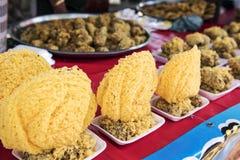 "Thai dessert called ""Khao Mao Tod"" Deep-fried Bananas with Coconut Stock Photos"