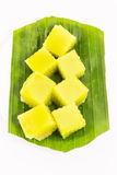 Thai dessert called Thai sweetmeat on banana leaf isolated on white background Stock Photo