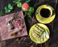 Thai dessert called thongmuansod Stock Photos