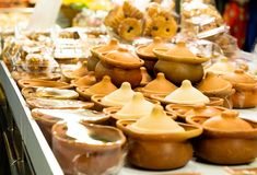 Thai dessert in clay pot. At Wat Don Wai floating market, Thailand Stock Photo
