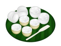 Thai Dessert of Coconut Pudding on Banana Leaf Stock Images