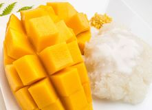 Thai dessert concept.  Mango and sticky rice stock image
