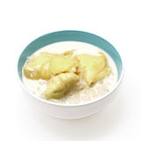 Thai dessert, durian sticky rice with coconut milk sauce Stock Photo