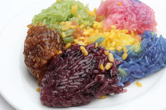 Thai dessert in the food festival. Sticky rice colorful Stock Photos