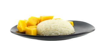 Thai dessert - Fresh Mango with sticky rice Royalty Free Stock Photos