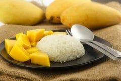 Thai dessert - Fresh Mango with sticky rice Stock Photo