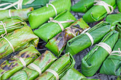 Thai Dessert, Freshly Homemade of Grilled Bananas in Sticky Rice Royalty Free Stock Images